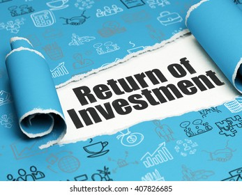 Business concept: black text Return of Investment under the curled piece of Blue torn paper with  Hand Drawn Business Icons, 3D rendering