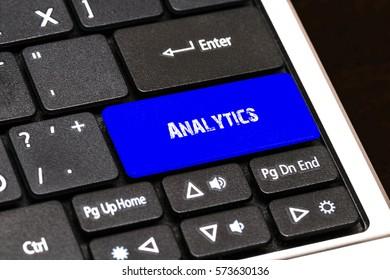Business Concept - Blue Analytics Button on Slim.
