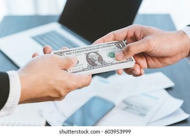 business concept, businessman cash money to partners