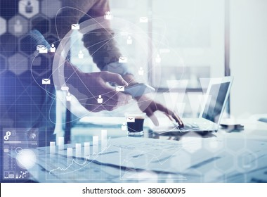 Business concept. Businessman working generic design laptop and smartphone. Worldwide connection technology interface. Horizontal mockup.