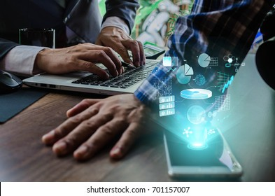 Business concept. Businessman working generic design laptop. Touching screen smartphone. Worldwide connection technology interface.