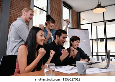 Business concept. Businessmen are shouting with joy. Business people are raising their hands for business success.