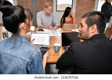 Business concept. Businessmen are working together as a team. Business people are brainstorming together.