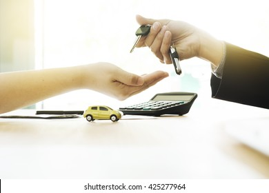 Business concept, car insurance, sell and buy car, car financing, car key for Vehicle Sales Agreement