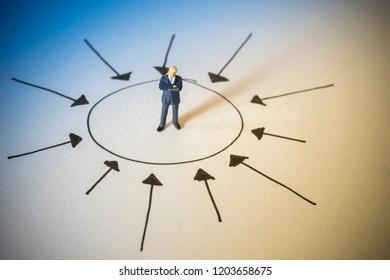 Business concept of center thinking. Businessman standing at center of arrows