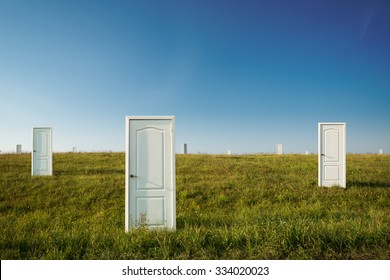 Business concept of choice: many doors in a field