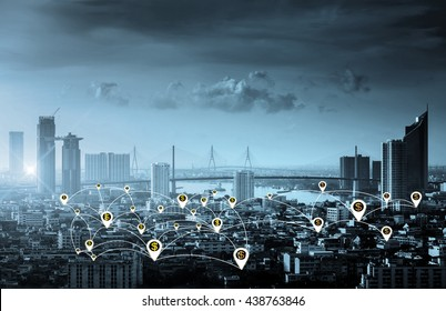Business concept, city scape and Global business connection technology