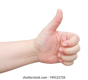 Business Concept, Close Up of Hand Show Thump Up Sign for Agreement Sign Isolated on White Background.