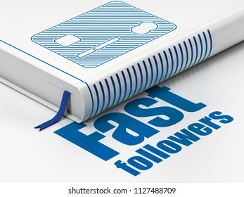 Business concept: closed book with Blue Credit Card icon and text Fast Followers on floor, white background, 3D rendering