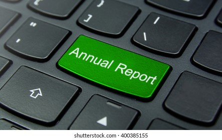 Business Concept: Close-up the Annual Report button on the keyboard and have Lime, Green color button isolate black keyboard