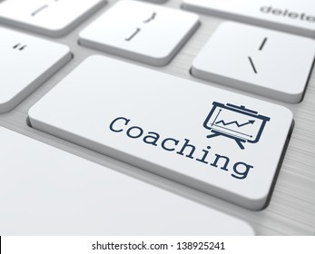 "Business Concept. ""Coaching"" Button on Modern Computer Keyboard."