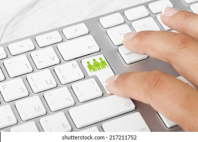Business concept: computer keyboard with Business Meeting, selected focus on enter button background