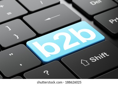 Business concept: computer keyboard with word B2b, selected focus on enter button background, 3d render