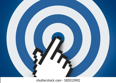Business concept, computer mouse hand cursor pointing target.
