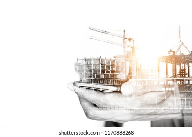 Business concept of construction and connection. Double exposure of businessman using smartphone and construction site.