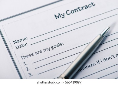 Business concept, contract and pen close-up on the table