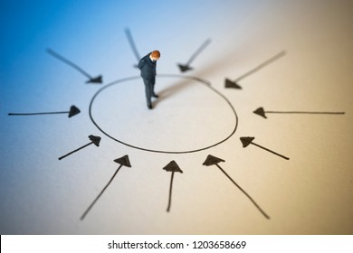 Business concept of depression. Businessman looking stress with arrows