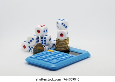 business concept with dice,  calculator and money.
