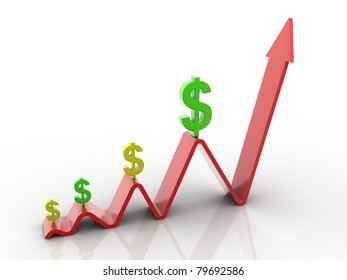 business concept dollar's value increase