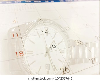 business concept double exposure calendar with clock