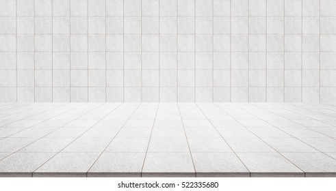 Business concept - Empty marble floor top with tile wall for display or montage product
