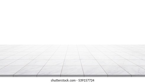 Business concept - Empty marble floor top isolated on white background for display or montage product
