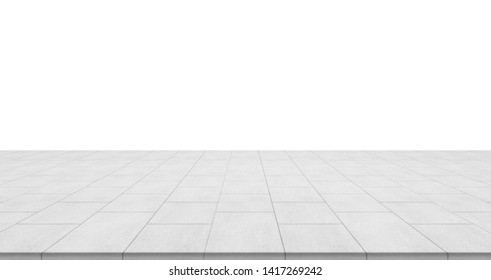 Business concept - empty stone floor top isolated on white background for display or mockup product