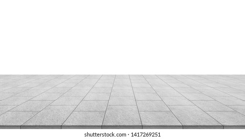 Business concept - empty stone floor top isolated on white background for display or mockup product - Shutterstock ID 1417269251