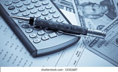 Business Concept Financial Calculator Pen Dollar