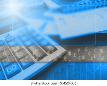 Business concept gaussian blur, showing calculator and paperwork with digital currency.