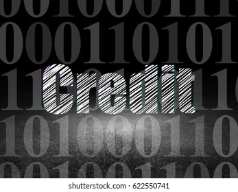 Business concept: Glowing text Credit in grunge dark room with Dirty Floor, black background with  Binary Code