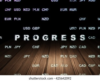 Business concept: Glowing text Progress in grunge dark room with Wooden Floor, black background with Currency