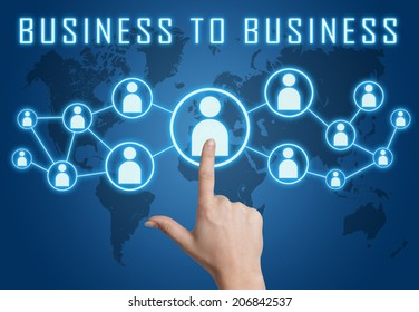 Business to Business concept with hand pressing social icons on blue world map background.