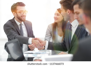 Business concept. Handshake for make agreement in contract