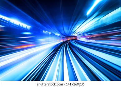 Business concept - high speed abstract track of motion light for background in tokyo, japan
