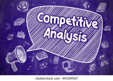 Business Concept. Horn Speaker with Phrase Competitive Analysis. Doodle Illustration on Blue Chalkboard.