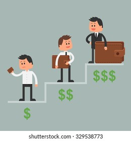 Business concept illustration in flat style. Money investment concept. Dollar symbols and wallet. Cartoon businessman get rich and move up