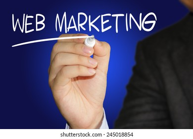 Business concept image of a businessman holding marker and write Web Marketing on blue background