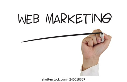 Business concept image of a hand holding marker and write Web Marketing isolated on white