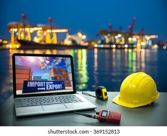 Business concept, industry. Laptop desk on with Industrial Container Cargo freight ship for Logistic Import Export background