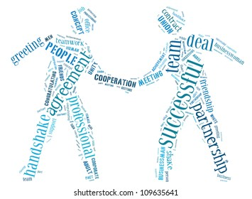 Business Concept info-text graphics and arrangement concept (word cloud) in the shape of businessman shake hand