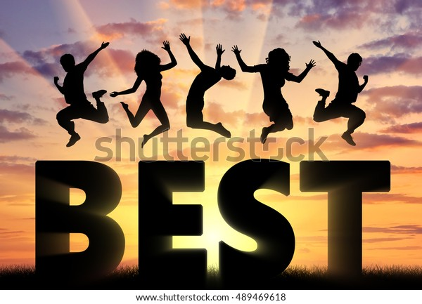 Business concept. Jumping people over the word Best
