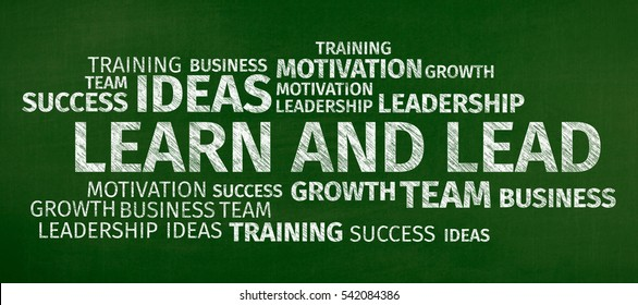 Business Concept: Learn and Lead Word Cloud