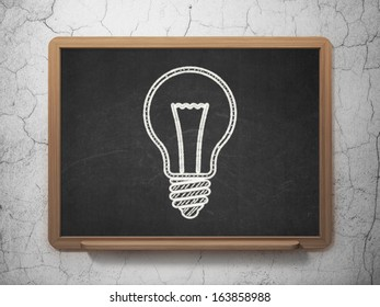 Business concept: Light Bulb icon on Black chalkboard on grunge wall background, 3d render