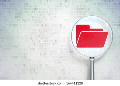Business concept: magnifying optical glass with Folder icon on digital background, empty copyspace for card, text, advertising, 3d render