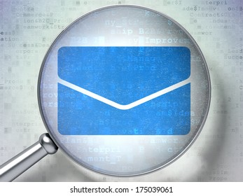 Business concept: magnifying optical glass with Email icon on digital background, 3d render