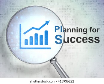 Business concept: magnifying optical glass with Growth Graph icon and Planning for Success word on digital background, 3D rendering
