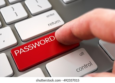 Business Concept - Male Finger Pointing Red Password Button on Slim Aluminum Keyboard. 3D.