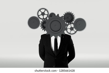 Business concept of man with gear in place of his head. Teamwork and solutions symbol
