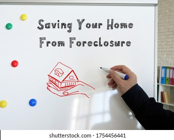 Business concept meaning Saving Your Home From Foreclosure with sign on the sheet.